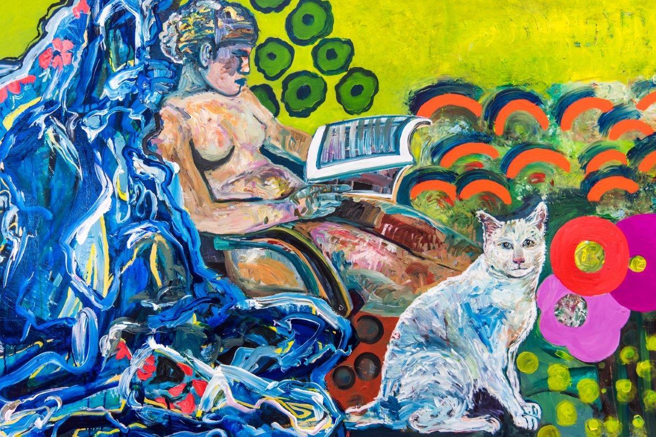Monika Schultes | Lesende mit Katze.