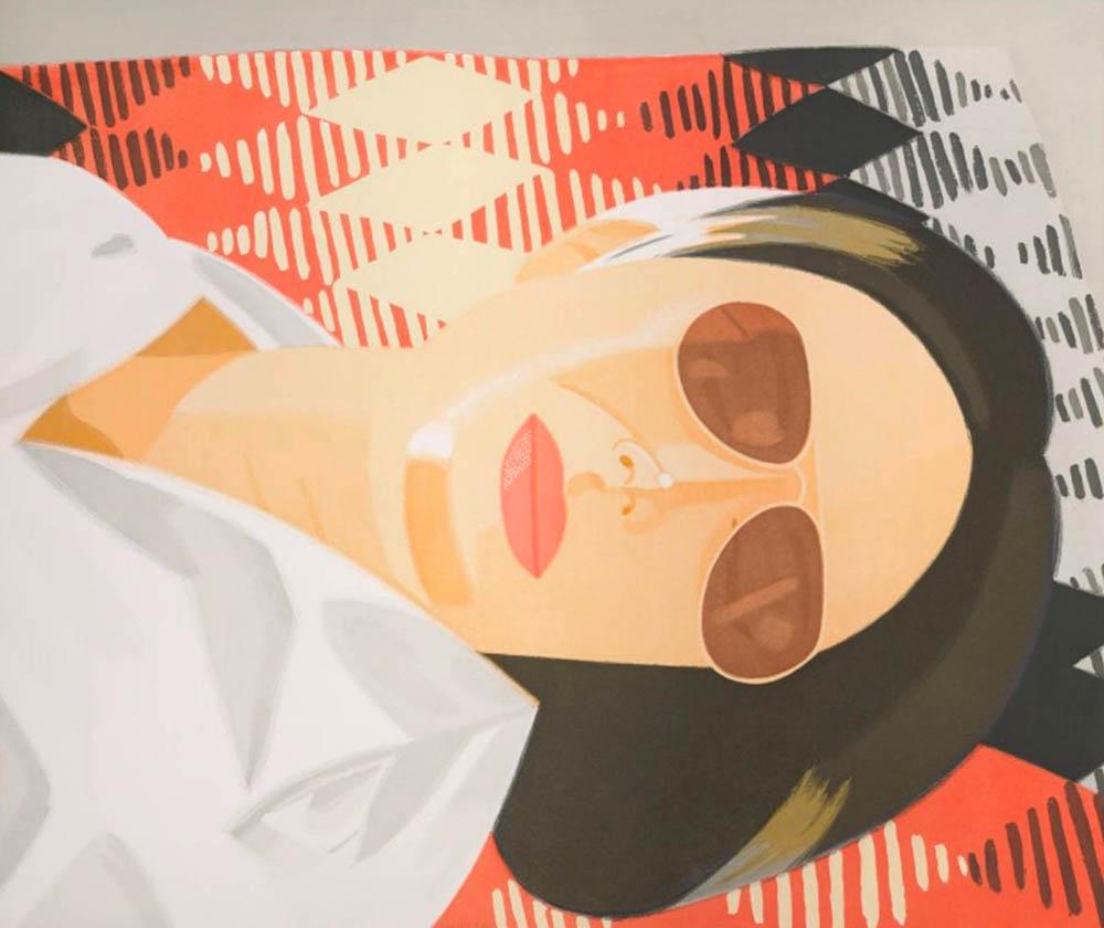 Alex Katz. Reclining Figure/ Indian Blanket. 1987. Aquatinta. 89x5 x 105,4 cm. signiert & nummeriert.